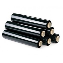 Film extensible estirable manual negro de mandril ligero (6 rollos)