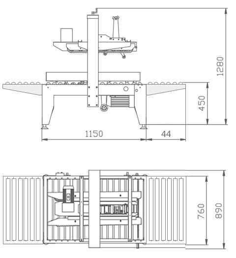 Dimensiones de la cerradora de cajas MPRE 1A