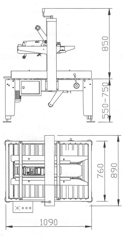 Medidas de la precintadora de cajas pequeñas MPRE 1AWS
